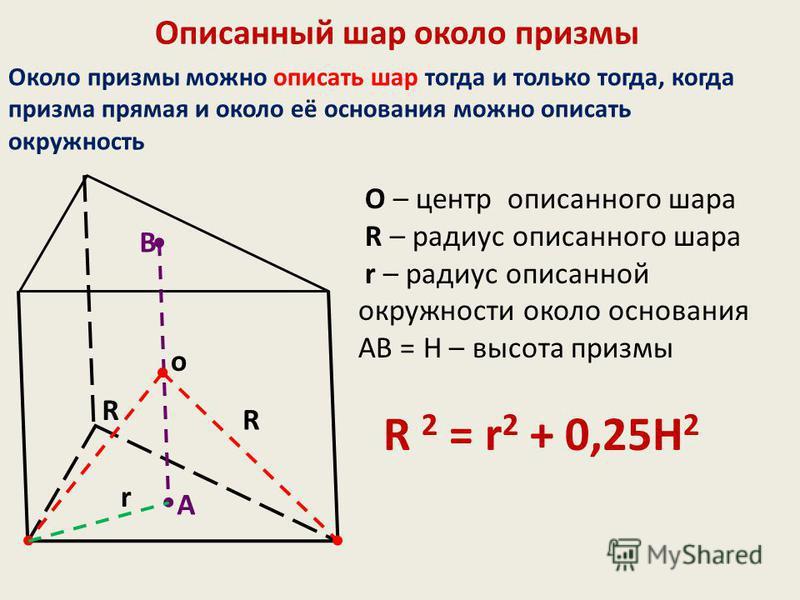 Описанный шар около призмы Около призмы можно описать шар тогда и только тогда, когда призма прямая и около её основания можно описать окружность O – центр описанного шара R – радиус описанного шара r – радиус описанной окружности около основания АВ