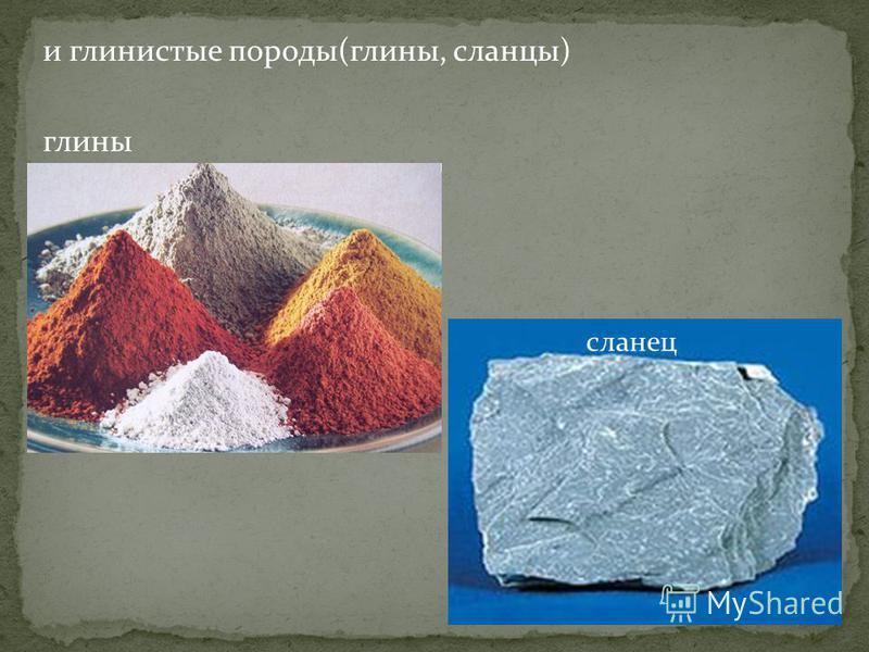и глинистые породы(глины, сланцы) глины сланец