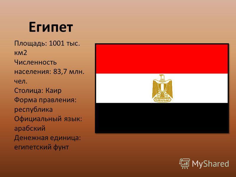 Площадь: 1001 тыс. км 2 Численность населения: 83,7 млн. чел. Столица: Каир Форма правления: республика Официальный язык: арабский Денежная единица: египетский фунт