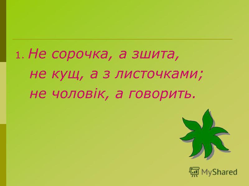 1. Не сорочка, а сшита, не кущ, а з листочками; не чоловік, а говорить.