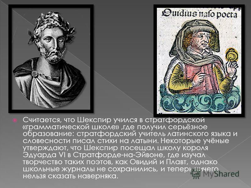 Считается, что Шекспир учился в стратфордской «грамматической школе»,где получил серьёзное образование: стратфордский учитель латинского языка и словесности писал стихи на латыни. Некоторые учёные утверждают, что Шекспир посещал школу короля Эдуарда