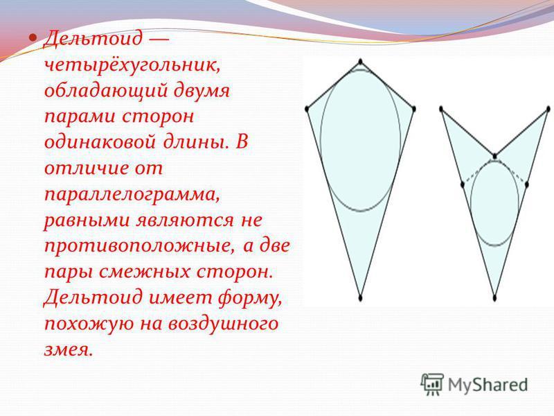 Дельтоид четырёхугольник, обладающий двумя парами сторон одинаковой длины. В отличие от параллелограмма, равными являются не противоположные, а две пары смежных сторон. Дельтоид имеет форму, похожую на воздушного змея.