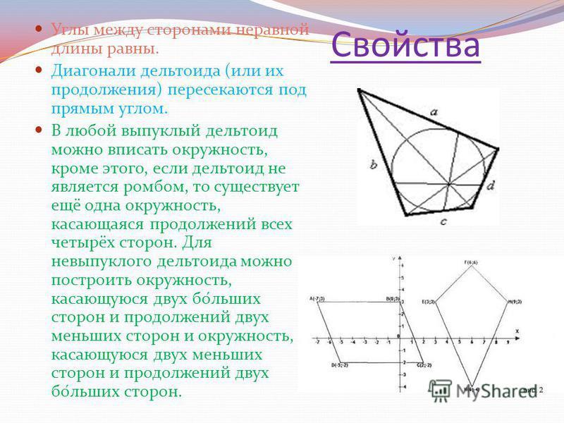 Свойства Углы между сторонами неравной длины равны. Диагонали дельтоида (или их продолжения) пересекаются под прямым углом. В любой выпуклый дельтоид можно вписать окружность, кроме этого, если дельтоид не является ромбом, то существует ещё одна окру