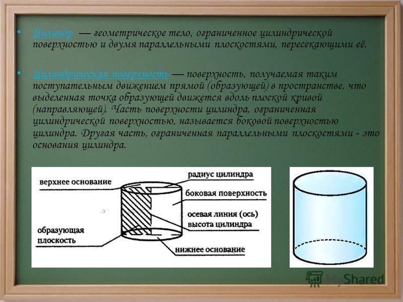 Цилиндр геометрическое тело, ограниченное цилиндрической поверхностью и двумя параллельными плоскостями, пересекающими её. Цилиндрическая поверхность поверхность, получаемая таким поступательным движением прямой (образующей) в пространстве, что выдел