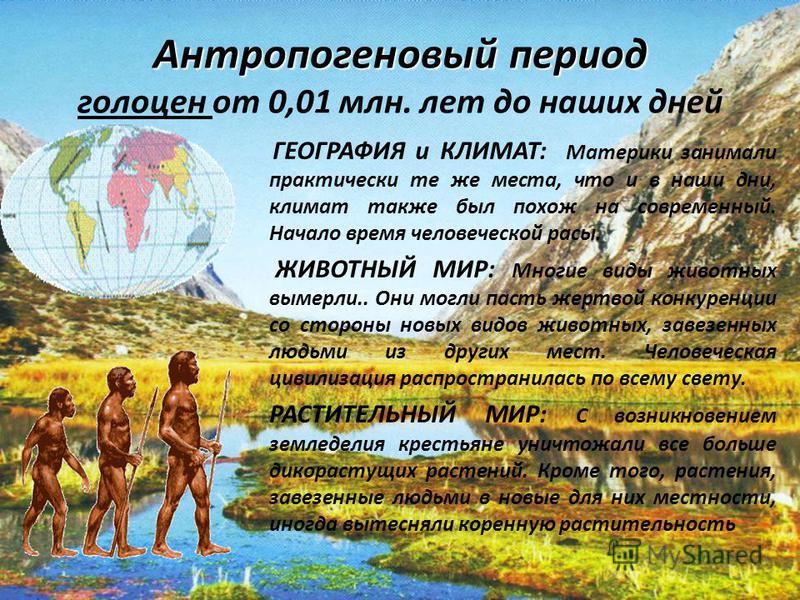 Антропогеновыйпериод Антропогеновый период голоцен от 0,01 млн. лет до наших дней ГЕОГРАФИЯ и КЛИМАТ: Материки занимали практически те же места, что и в наши дни, климат также был похож на современный. Начало время человеческой расы. ЖИВОТНЫЙ МИР: Мн