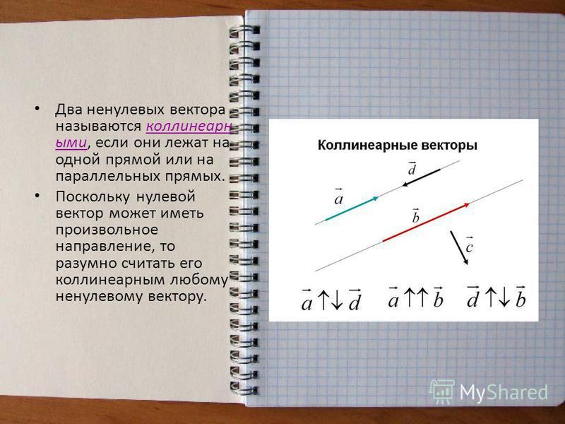 Два ненулевых вектора называются коллинеарныййми, если они лежат на одной прямой или на параллельных прямых. Поскольку нулевой вектор может иметь произвольное направление, то разумно считать его коллинеарныййм любому ненулевому вектору.