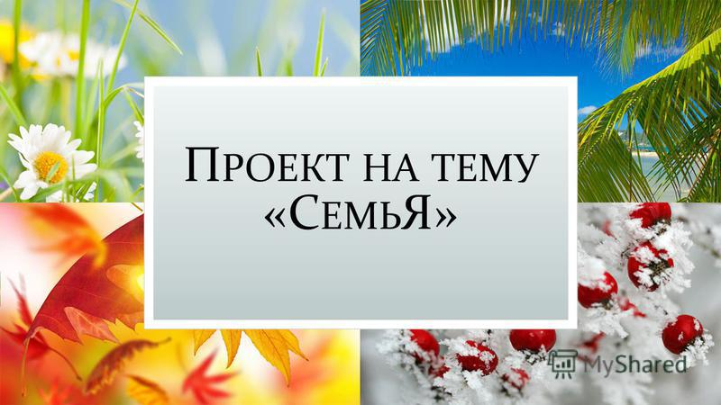 П РОЕКТ НА ТЕМУ «С ЕМЬ Я»