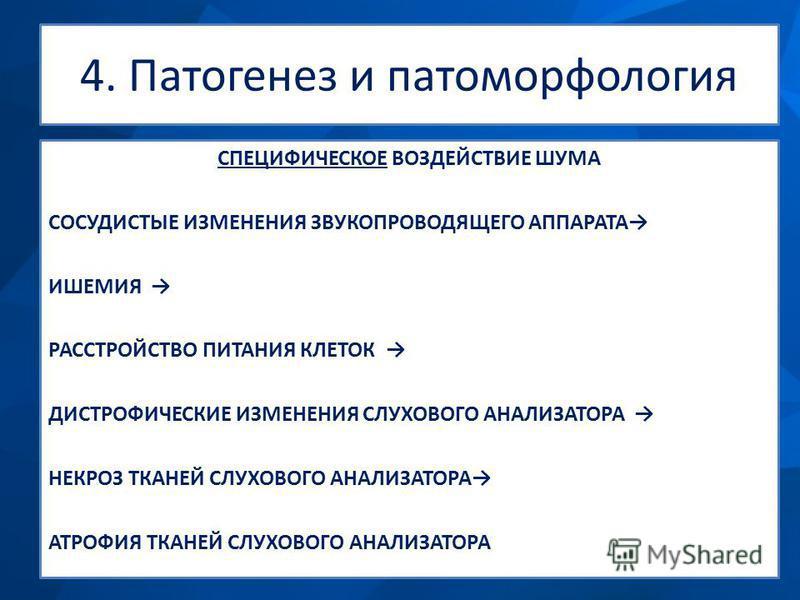 4. Патогенез и патоморфология СПЕЦИФИЧЕСКОЕ ВОЗДЕЙСТВИЕ ШУМА СОСУДИСТЫЕ ИЗМЕНЕНИЯ ЗВУКОПРОВОДЯЩЕГО АППАРАТА ИШЕМИЯ РАССТРОЙСТВО ПИТАНИЯ КЛЕТОК ДИСТРОФИЧЕСКИЕ ИЗМЕНЕНИЯ СЛУХОВОГО АНАЛИЗАТОРА НЕКРОЗ ТКАНЕЙ СЛУХОВОГО АНАЛИЗАТОРА АТРОФИЯ ТКАНЕЙ СЛУХОВОГО