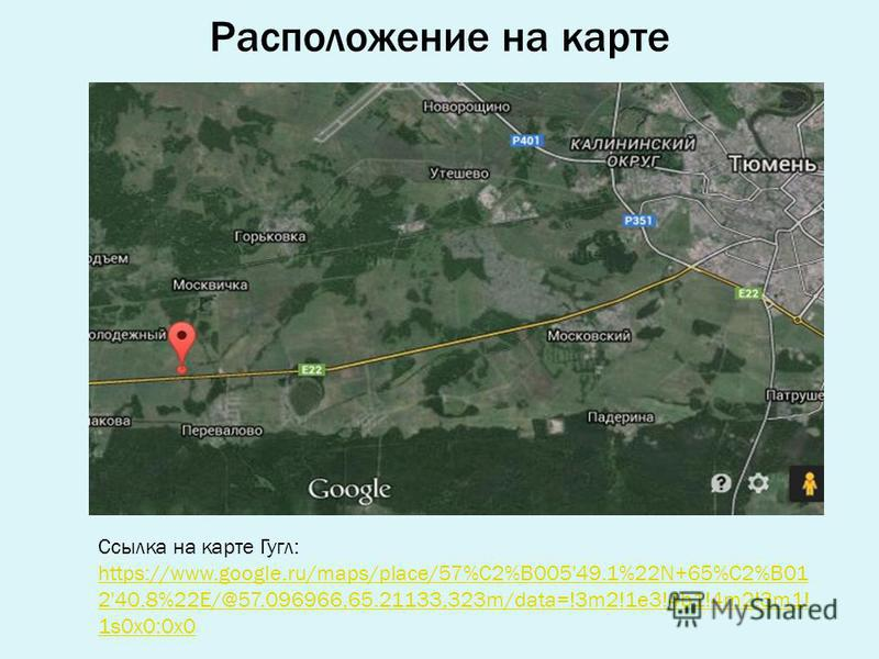 Расположение на карте Ссылка на карте Гугл: https://www.google.ru/maps/place/57%C2%B005'49.1%22N+65%C2%B01 2'40.8%22E/@57.096966,65.21133,323m/data=!3m2!1e3!4b1!4m2!3m1! 1s0x0:0x0 https://www.google.ru/maps/place/57%C2%B005'49.1%22N+65%C2%B01 2'40.8%