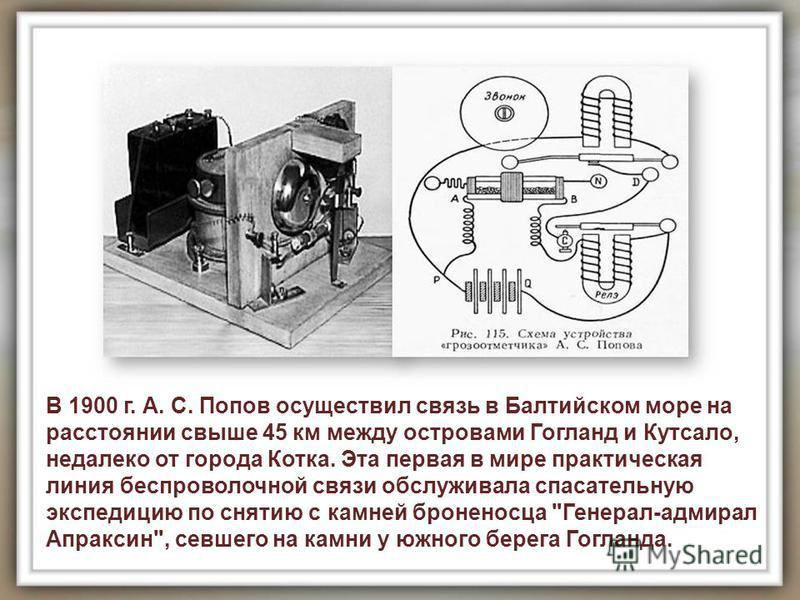 В 1900 г. А. С. Попов осуществил связь в Балтийском море на расстоянии свыше 45 км между островами Гогланд и Кутсало, недалеко от города Котка. Эта первая в мире практическая линия беспроволочной связи обслуживала спасательную экспедицию по снятию с