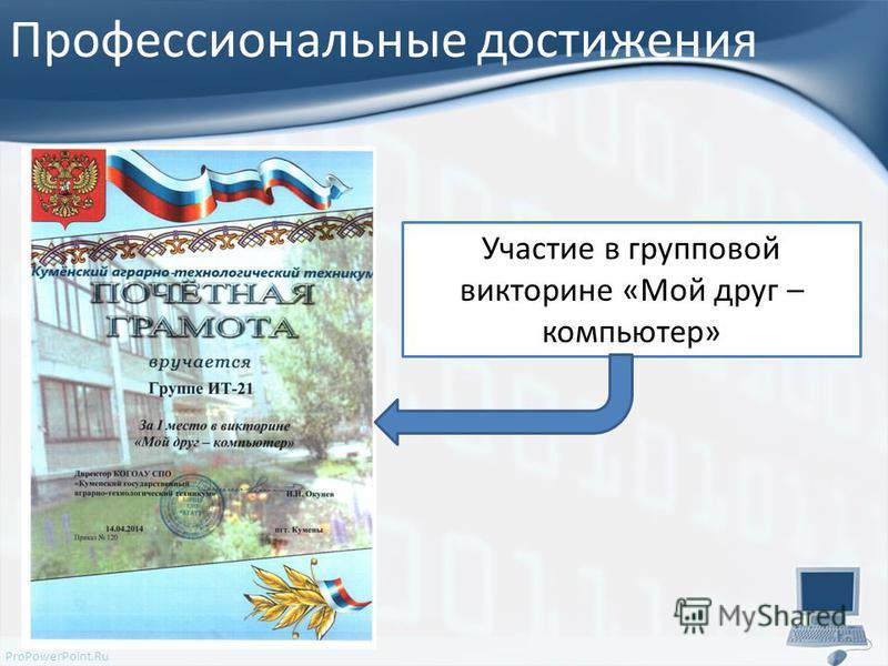 ProPowerPoint.Ru Профессиональные достижения Участие в групповой викторине «Мой друг – компьютер»
