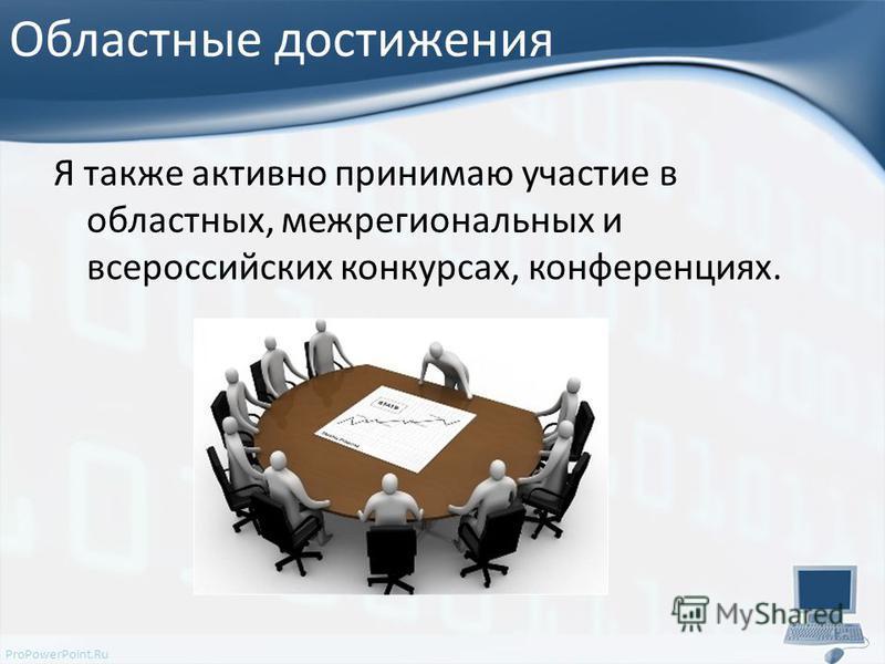 ProPowerPoint.Ru Областные достижения Я также активно принимаю участие в областных, межрегиональных и всероссийских конкурсах, конференциях.