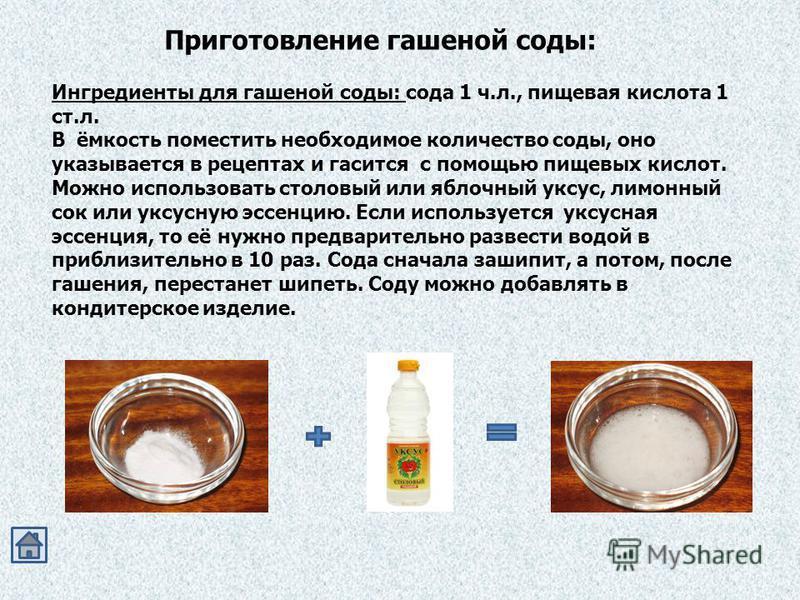 Приготовление гашеной соды: Ингредиенты для гашеной соды: сода 1 ч.л., пищевая кислота 1 ст.л. В ёмкость поместить необходимое количество соды, оно указывается в рецептах и гасится с помощью пищевых кислот. Можно использовать столовый или яблочный ук