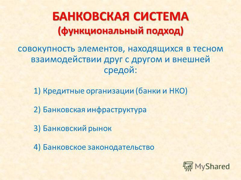 БАНКОВСКАЯ СИСТЕМА (функциональный подход) совокупность элементов, находящихся в тесном взаимодействии друг с другом и внешней средой: 1)Кредитные организации (банки и НКО) 2)Банковская инфраструктура 3)Банковский рынок 4)Банковское законодательство