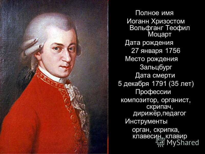 Полное имя Иоганн Хризостом Вольфганг Теофил Моцарт Дата рождения 27 января 1756 Место рождения Зальцбург Дата смерти 5 декабря 1791 (35 лет) Профессии композитор, органист, скрипач, дирижёр,педагог Инструменты орган, скрипка, клавесин, клавир
