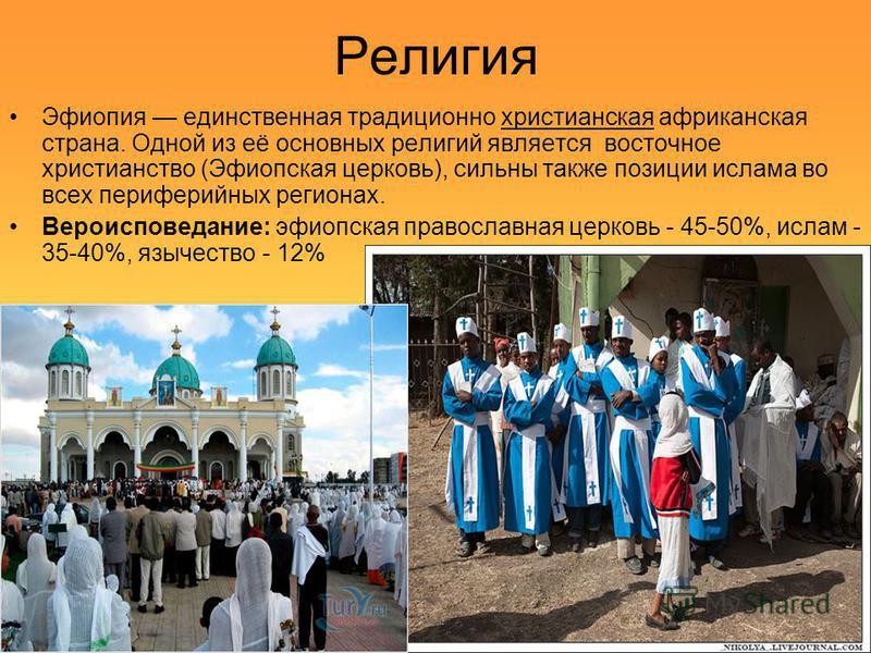 Религия Эфиопия единственная традиционно христианская африканская страна. Одной из её основных религий является восточное христианство (Эфиопская церковь), сильны также позиции ислама во всех периферийных регионах. Вероисповедание: эфиопская правосла