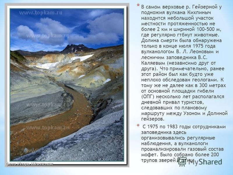 * В самом верховье р. Гейзерной у подножия вулкана Кихпиныч находится небольшой участок местности протяженностью не более 2 км и шириной 100–500 м, где регулярно гибнут животные. Долина смерти была обнаружена только в конце июля 1975 года вулканолого