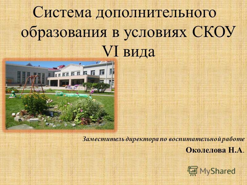 Система дополнительного образования в условиях СКОУ VI вида Заместитель директора по воспитательной работе Околелова Н.А.