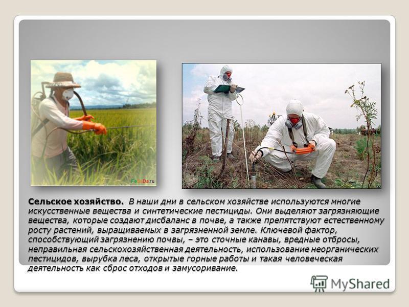 Сельское хозяйство. В наши дни в сельском хозяйстве используются многие искусственные вещества и синтетические пестициды. Они выделяют загрязняющие вещества, которые создают дисбаланс в почве, а также препятствуют естественному росту растений, выращи