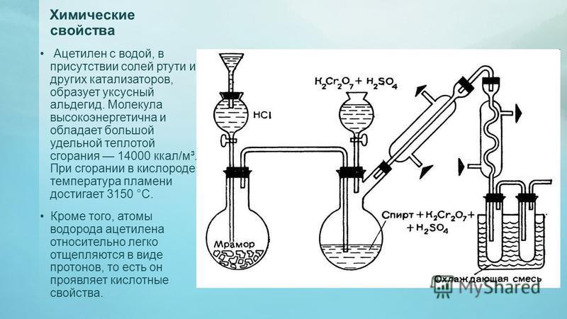 Химические свойства Ацетилен с водой, в присутствии солей ртути и других катализаторов, образует уксусный альдегид. Молекула высокоэнергетична и обладает большой удельной теплотой сгорания 14000 ккал/м³. При сгорании в кислороде температура пламени д