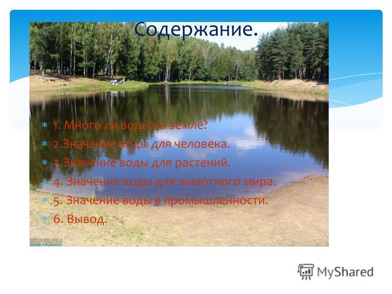 1. Много ли воды на земле? 2. Значение воды для человека. 3. Значение воды для растений. 4. Значение воды для животного мира. 5. Значение воды в промышленности. 6. Вывод. Содержание.