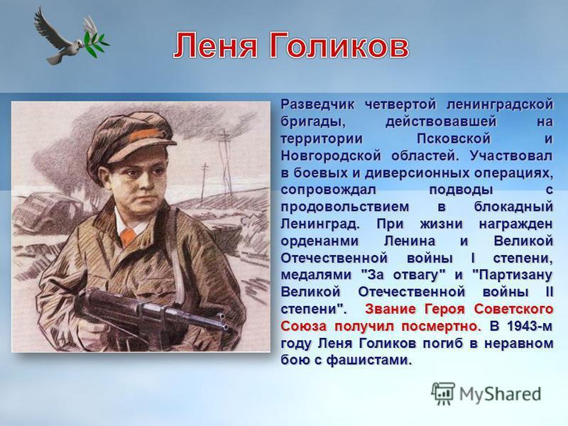 Разведчик четвертой ленинградской бригады, действовавшей на территории Псковской и Новгородской областей. Участвовал в боевых и диверсионных операциях, сопровождал подводы с продовольствием в блокадный Ленинград. При жизни награжден орденами Ленина и