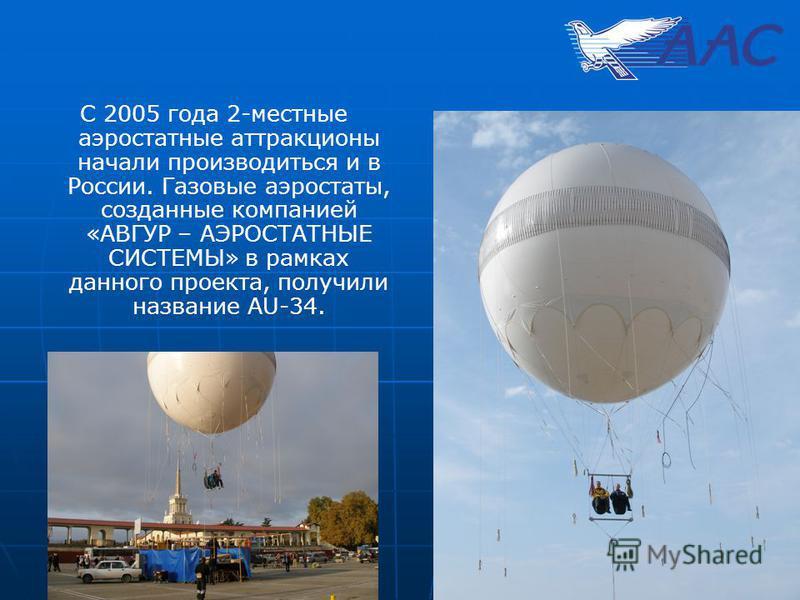 С 2005 года 2-местные аэростатные аттракционы начали производиться и в России. Газовые аэростаты, созданные компанией «АВГУР – АЭРОСТАТНЫЕ СИСТЕМЫ» в рамках данного проекта, получили название AU-34.