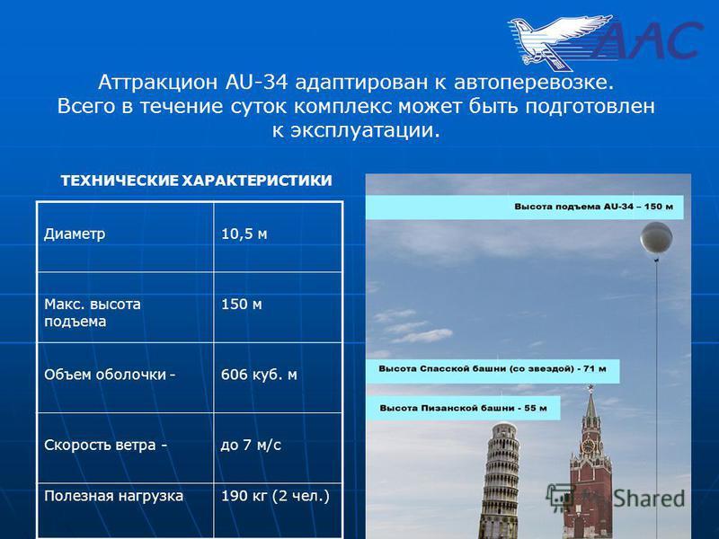 Аттракцион AU-34 адаптирован к автоперевозке. Всего в течение суток комплекс может быть подготовлен к эксплуатации. Диаметр 10,5 м Макс. высота подъема 150 м Объем оболочки - 606 куб. м Скорость ветра -до 7 м/с Полезная нагрузка 190 кг (2 чел.) ТЕХНИ