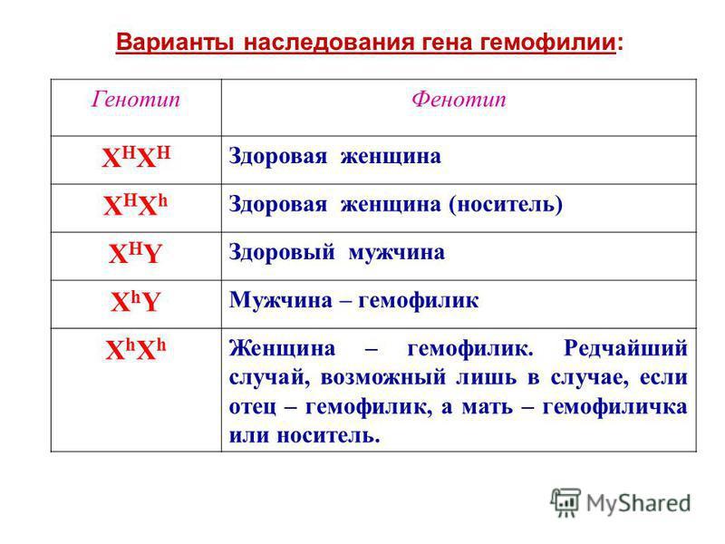 Варианты наследования гена гемофилии: Генотип Фенотип XHXHXHXH Здоровая женщина XHXhXHXh Здоровая женщина (носитель) XHYXHY Здоровый мужчина XhYXhY Мужчина – гемофилик XhXhXhXh Женщина – гемофилик. Редчайший случай, возможный лишь в случае, если отец