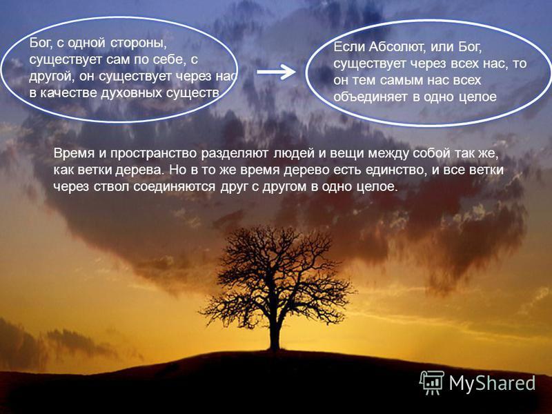 Бог, с одной стороны, существует сам по себе, с другой, он существует через нас в качестве духовных существ. Если Абсолют, или Бог, существует через всех нас, то он тем самым нас всех объединяет в одно целое Время и пространство разделяют людей и вещ