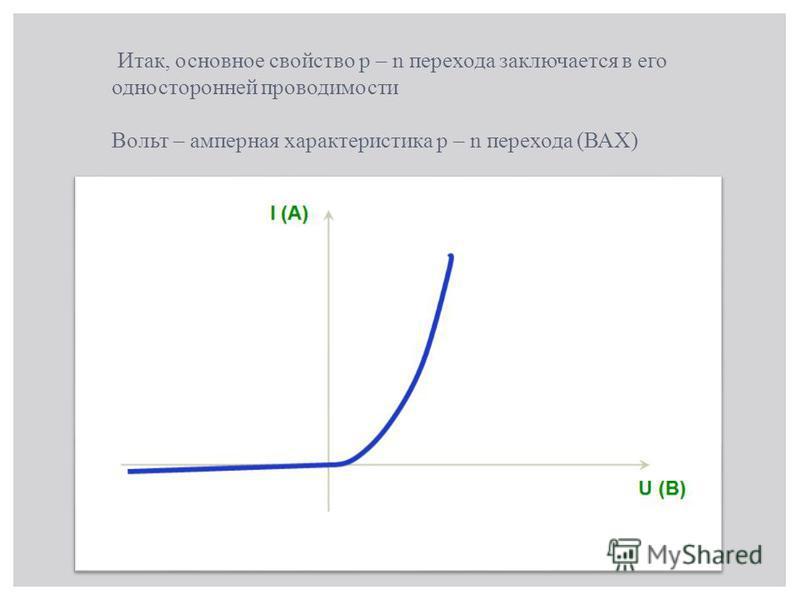 Итак, основное свойство p – n перехода заключается в его односторонней проводимости Вольт – амперная характеристика p – n перехода (ВАХ)
