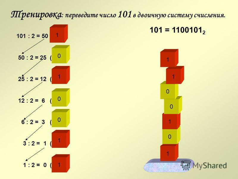Вы правильно ответили на вопрос 2, перейдем к вопросу 3. 0 Вопрос 3 1 0 1 0 1 0 1 0 0 1 0 1 1 0 0 1 0 1 0 1 Переведите число 170 в двоичную систему счисления. 0 1