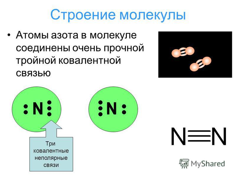 Строение молекулы Атомы азота в молекуле соединены очень прочной тройной ковалентной связью Три ковалентные неполярные связи