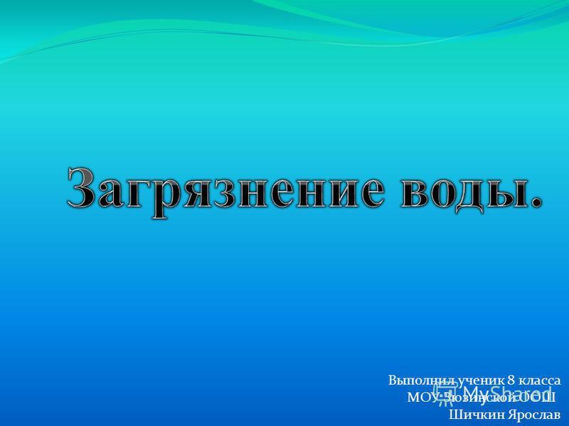 Выполнил ученик 8 класса МОУ Зюзинской ООШ Шичкин Ярослав