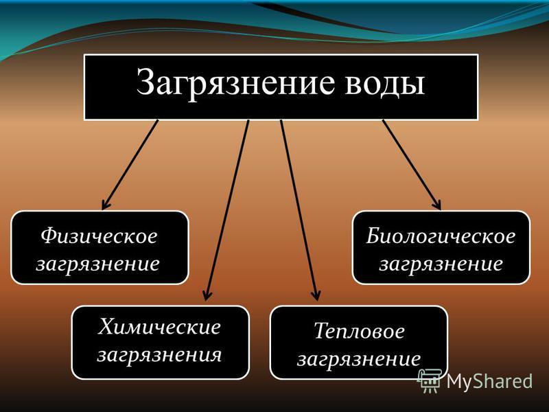 Загрязнение воды Физическое загрязнение Химические загрязнения Биологическое загрязнение Тепловое загрязнение