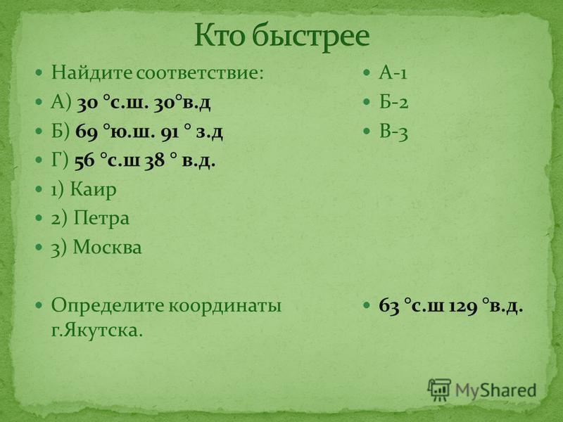 Найдите соответствие: А) 30 °с.ш. 30°в.д Б) 69 °ю.ш. 91 ° з.д Г) 56 °с.ш 38 ° в.д. 1) Каир 2) Петра 3) Москва Определите координаты г.Якутска. А-1 Б-2 В-3 63 °с.ш 129 °в.д.