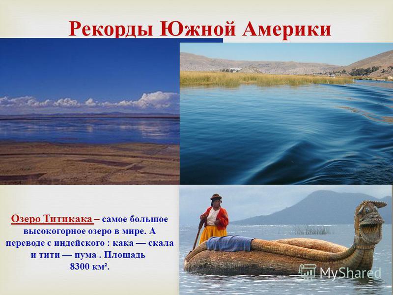 Рекорды Южной Америки Озеро Титикака – самое большое высокогорное озеро в мире. А переводе с индейского : кака скала и тети пума. Площадь 8300 км ².