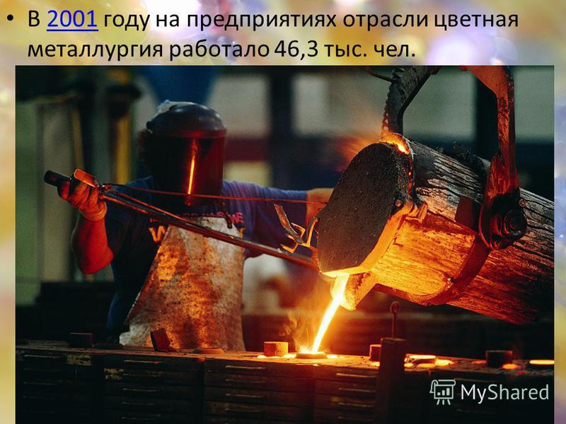 В 2001 году на предприятиях отрасли цветная металлургия работало 46,3 тыс. чел.2001