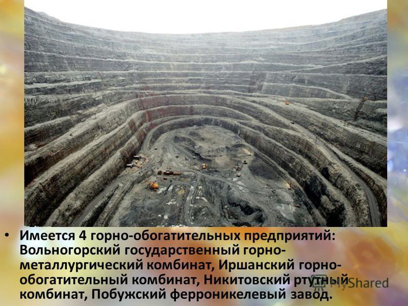 Имеется 4 горно-обогатительных предприятий: Вольногорский государственный горно- металлургический комбинат, Иршанский горно- обогатительный комбинат, Никитовский ртутный комбинат, Побужский ферроникелевый завод.