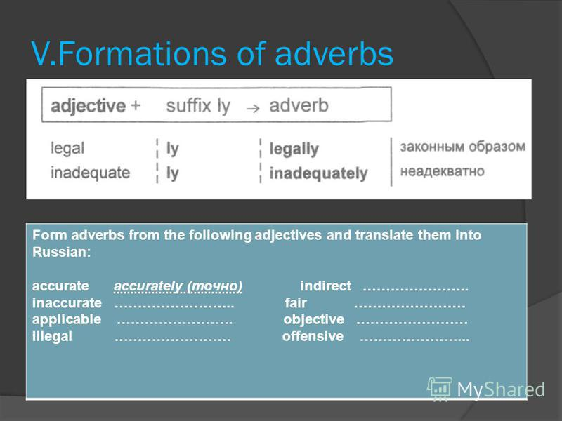 V.Formations of adverbs Form adverbs from the following adjectives and translate them into Russian: accurate accurately (точно) indirect ………………….. inaccurate …………………….. fair …………………… applicable ……………………. objective …………………… illegal.…………………… offensive