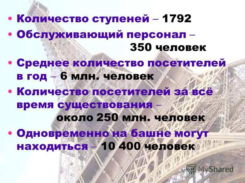 Количество ступеней 1792 Обслуживающий персонал 350 человек Среднее количество посетителей в год 6 млн. человек Количество посетителей за всё время существования около 250 млн. человек Одновременно на башне могут находиться 10 400 человек