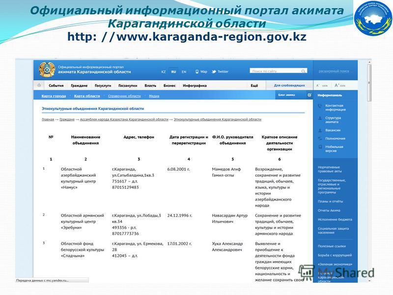 Официальный информационный портал акимата Карагандинской области http: //www.karaganda-region.gov.kz