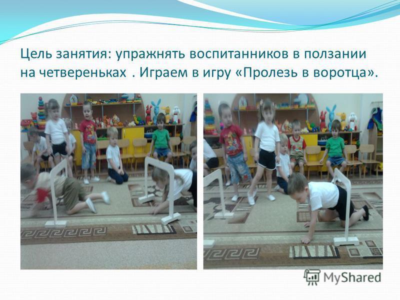 Цель занятия: упражнять воспитанников в ползании на четвереньках. Играем в игру «Пролезь в воротца».