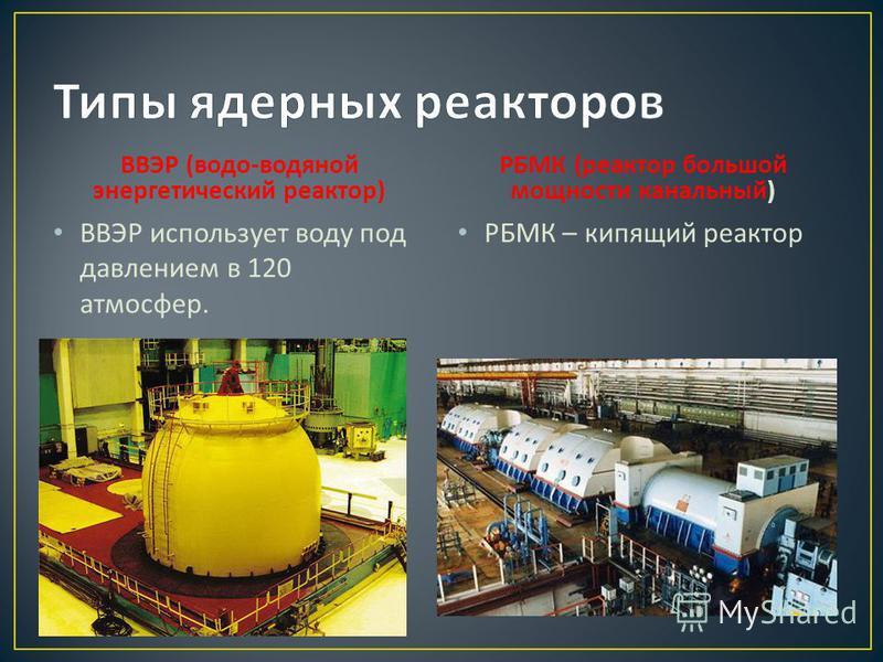 ВВЭР ( водоводяной энергетический реактор ) ВВЭР использует воду под давлением в 120 атмосфер. РБМК ( реактор большой мощности канальный ) РБМК – кипящий реактор