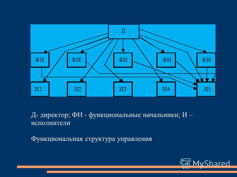Д- директор; ФН - функциональные начальники; И – исполнители Функциоанальная структура управления