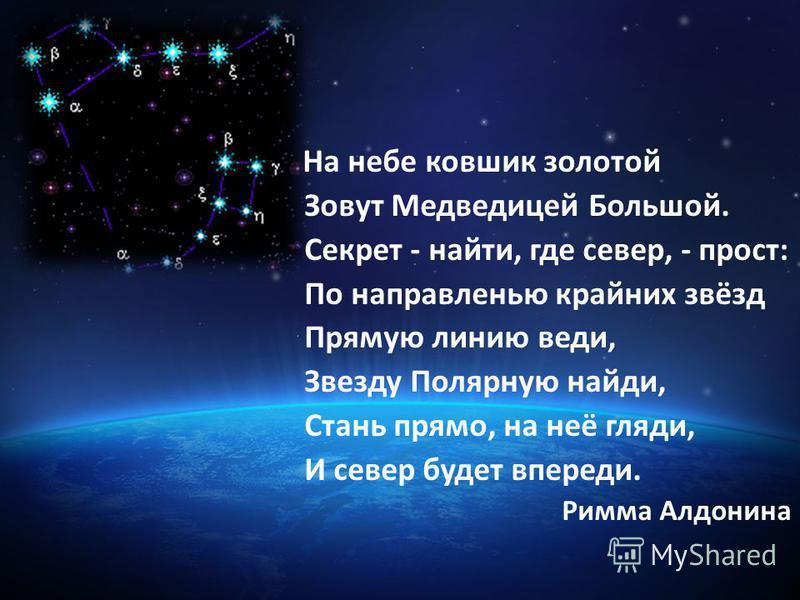 На небе ковшик золотой Зовут Медведицей Большой. Секрет - найти, где север, - прост: По направленью крайних звёзд Прямую линию веди, Звезду Полярную найди, Стань прямо, на неё гляди, И север будет впереди. Римма Алдонина