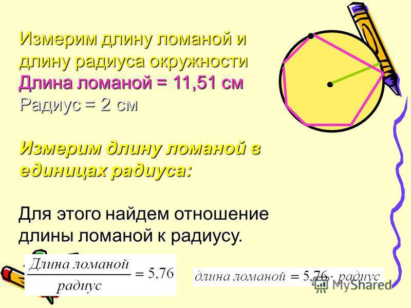 Измерим длину ломаной и длину радиуса окружности Длина ломаной = 11,51 см Радиус = 2 см Измерим длину ломаной в единицах радиуса: Для этого найдем отношение длины ломаной к радиусу.