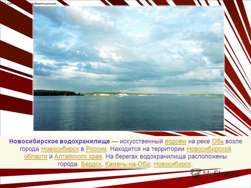 Новосибирское водохранилище искусственный водоём на реке Обь возле города Новосибирск в России. Находится на территории Новосибирской области и Алтайского края. На берегах водохранилища расположены города: Бердск, Камень-на-Оби, Новосибирск.водоём Об