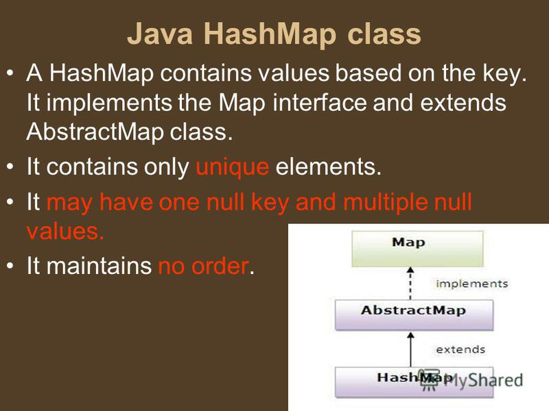 Java HashMap class A HashMap contains values based on the key. It implements the Map interface and extends AbstractMap class. It contains only unique elements. It may have one null key and multiple null values. It maintains no order.