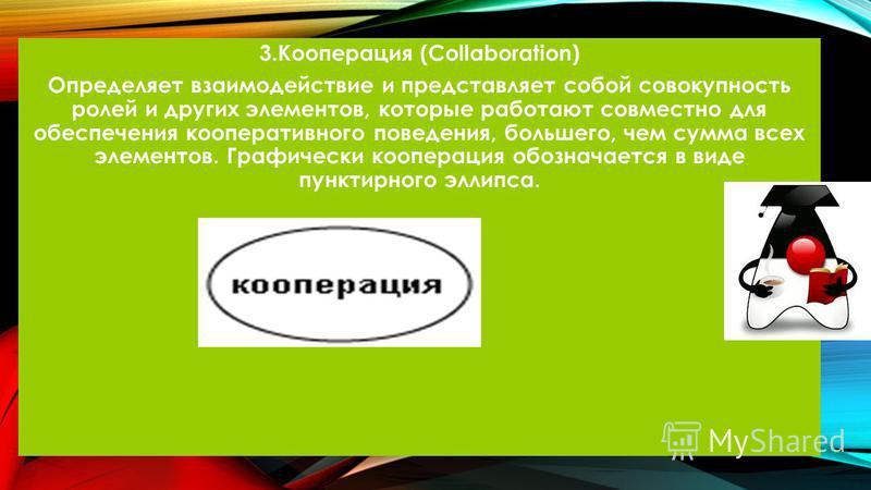 3. Кооперация (Collaboration) Определяет взаимодействие и представляет собой совокупность ролей и других элементов, которые работают совместно для обеспечения кооперативного поведения, большего, чем сумма всех элементов. Графически кооперация обознач